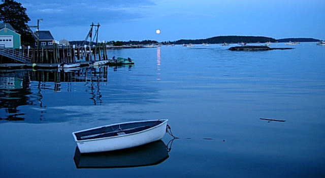 Moonrise over the harbor in Stonington Maine